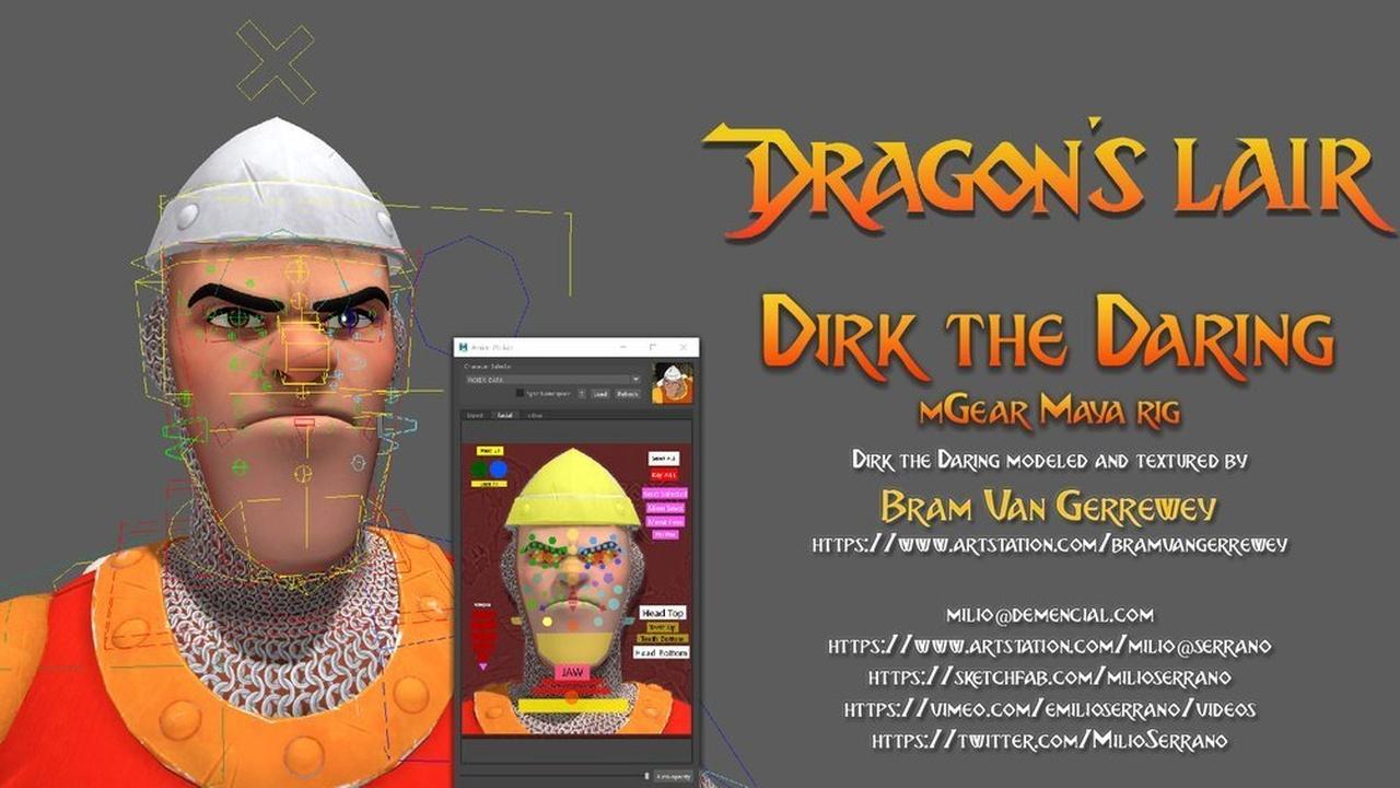 Dragons Lair, Dirk the Daring, mGear Maya rig
